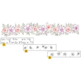 Nellie Snellen Transparente / Clear Selo: selo em camadas com fronteira posicional com flores