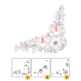 Nellie Snellen Gennemsigtig / Clear Stamp: lags stempel med positionel hjørne med blomster