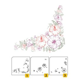 Nellie Snellen Transparent / Clear Stamp: Layered stamp with position Corner with flowers