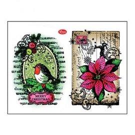 Stempel / Stamp: Transparent Stamp transparente: Robins + poinsettia