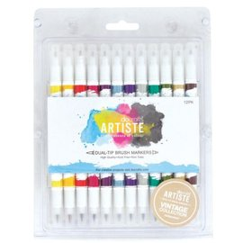 FARBE / STEMPELKISSEN Artiste Permanent Dual Tip Brush Marker, Color Vintage Collection