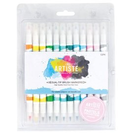 FARBE / STEMPELINK Artiste Permanent Dual Tip Brush Marker, Color Pastels Collection