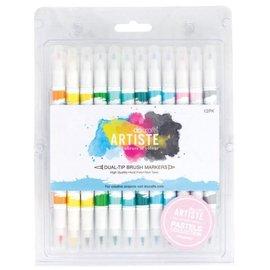FARBE / STEMPELINK Artiste permanente pennello doppio Tip Marker, dipingere Pastels Collezione