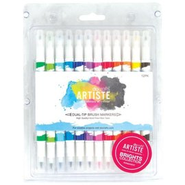 FARBE / STEMPELINK Artiste Permanent Dual Tip Pinselmarker, Farbe Brights Collection