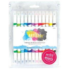 FARBE / STEMPELINK Artiste permanente pincel de ponta dupla Marker, Coleção cor Brights