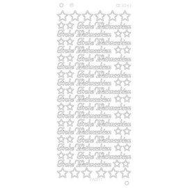 Sticker Adesivi, testo tedesco: Buon Natale in Platinum - Argento