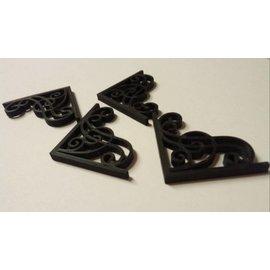Embellishments / Verzierungen Novo: 4 Mistura Meios canto de plástico filigrana decorativo, preto, canto de aproximadamente 3,0 x 3,5 cm, 0,3 mm de espessura.