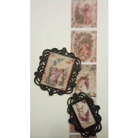 Embellishments / Verzierungen Novo: 2 media da mistura de plástico filigrana decorativos quadros (frames), preto, aproximadamente 6,0 x 6,5 cm e 6,0 x 4,5 cm
