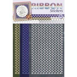Sticker Ruban autocollants étoiles en or, argent et bleu.