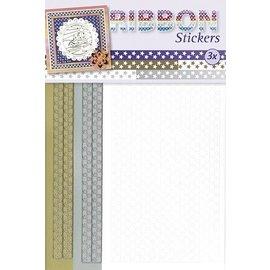 Sticker Ruban autocollants étoiles en or, argent et blanc