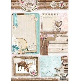 Studio Light Stanzbogen, A4: Sweet Winter Season, mit 5 vorgestanzte Hintergrund Karten / Labels, 170 grs
