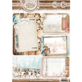 Studio Light Die cut, A4: Sweet Winter Season, with 5 prepunched background cards / labels