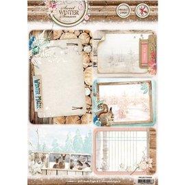 Studio Light feuille échenillées A4: douce saison d'hiver, avec 5 cartes fond prédécoupées / étiquettes