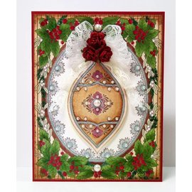 "STEMPEL / STAMP: GUMMI / RUBBER 10% DISCOUNT! Rubber stamp: Christmas frame ""Holly Frame"" - ONLY 1 in stock!"