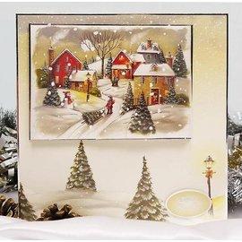 BASTELSETS / CRAFT KITS set di stampo Glorioso, per la progettazione di varie cartoline di Natale + 2 biglietti + adesive pastiglie + adesivi