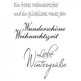 "Stempel / Stamp: Transparent Gennemsigtig / Clear Text Stempel: tysk tekst Jul ""Winter Kærlighed Greetings"""