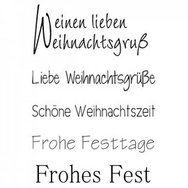 "Stempel / Stamp: Transparent Transparent / Clear text stamp: German text Christmas ""a lovely Christmas greeting"""