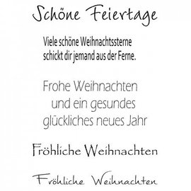 "Stempel / Stamp: Transparent Gennemsigtig / Clear Text Stempel: tysk tekst Jul ""Happy Holidays"""