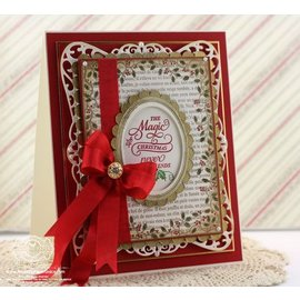 "STEMPEL / STAMP: GUMMI / RUBBER 10% DISCOUNT! Rubber stamp: Christmas decorative frame ""Holly Frame"" - ONLY 2 in stock!"