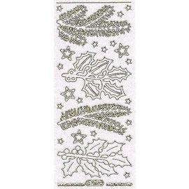 Sticker Ziersticker met motieven dennentakken wit in glitter en goud