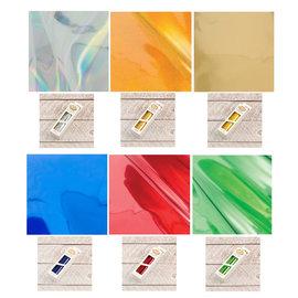 BASTELZUBEHÖR, WERKZEUG UND AUFBEWAHRUNG Heat Activated Foil Silver Iridescent Material Finish, Each roll measures: 125mmx5m