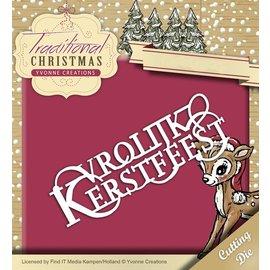 Yvonne Creations Stanz- und Prägeschablone: Vrolijke Kerstmis in Niederländisch!