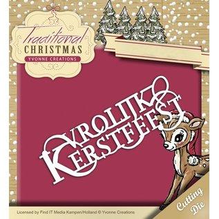 Yvonne Creations Stansning og prægning skabelon: Vrolijke Kerstmis på hollandsk!