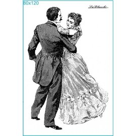 STEMPEL / STAMP: GUMMI / RUBBER Stempel Dancing at the Ball, ca. 8 x 12 cm