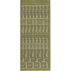 Sticker folha da etiqueta, texto alemão 10x23cm: Feliz Natal, verticalmente em ouro