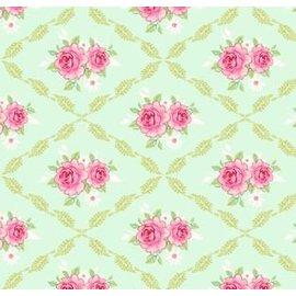 Tilda Tilda stof, 1 Mtr, Rosalie, lys grøn