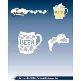 JEANINES ART (NEU) Stansning og prægning stencil, et glas øl med skum