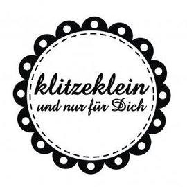 """Stempel / Stamp: Holz / Wood holze Mini-Stempel mit deutsche Text """"klitzeklein und nur für dich"""" , 3cm ø"""