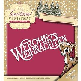 Yvonne Creations Decalques de corte e estampagem, Natal tradicional, texto alemão: Feliz Natal