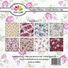 DESIGNER BLÖCKE / DESIGNER PAPER blocco di carta, fiori di retro 15 x 15 cm