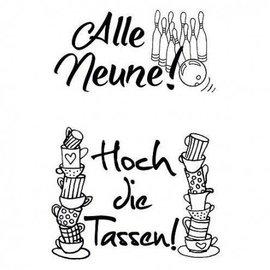 Stempel / Stamp: Transparent selos transparentes, A7, com texto em alemão