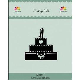 Die'sire Snij en embossing Sjablonen: Huwelijkstaart, 6cm x 6cm