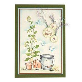 Stempel / Stamp: Transparent Gennemsigtigt frimærke, Blomstervirvler