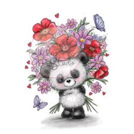 Wild Rose Studio`s Gennemsigtig stempel, Panda med blomst