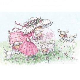 Wild Rose Studio`s Transparent frimærke, Annabelle med lam