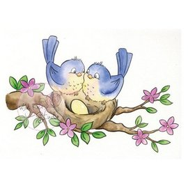 Wild Rose Studio`s Transparent stamp, Birds on nest