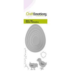 Crealies und CraftEmotions skæring og prægning: Æg med kyllinger Kort 5x10cm