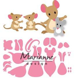 Marianne Design Couper et gaufrer des pochoirs: la famille de souris d'Eline