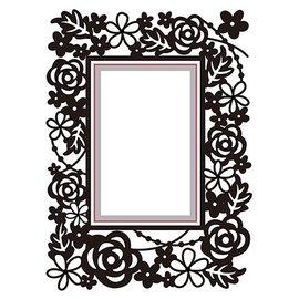 Nellie Snellen skæring og prægning Stencils: Rektangel-blomstret