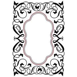 Nellie Snellen corte e relevo Stencils: Oval-butterfly-swirls