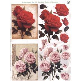 Bilder, 3D Bilder und ausgestanzte Teile usw... Folhas A4 cortadas: Rosas