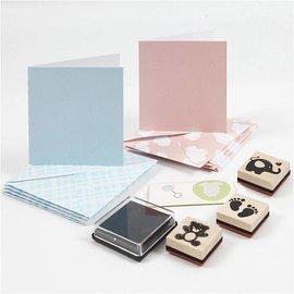 KARTEN und Zubehör / Cards Card e set timbro, dimensioni carta 7.5x7.5 cm, formato della busta 8,5x8,5 cm, azzurro, rosso chiaro, bambino