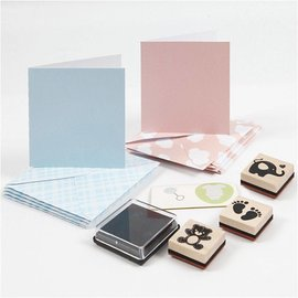 KARTEN und Zubehör / Cards Cartes et jeu de timbres, format carte 7.5x7.5 cm, la taille de l'enveloppe 8,5x8,5 cm, bleu clair, lumière rouge, bébé