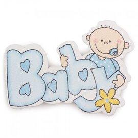 Embellishments / Verzierungen Embellishments / ornaments made of wood, baby, 50 x 37 mm, 5 pieces, light blue