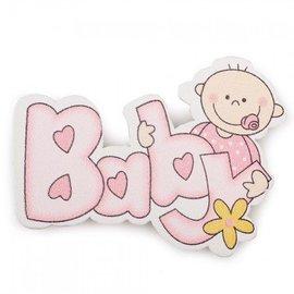 Embellishments / Verzierungen Embellishments / Verzierungen aus Holz, Baby, 50 x 37 mm, 5 Stück, rosa