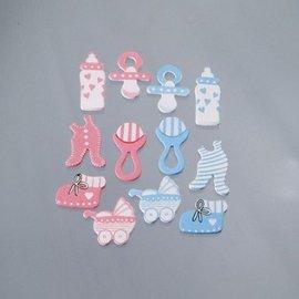 Embellishments / Verzierungen Abbellimenti / ornamenti in legno, Babyaccessoires, 40 mm, 12 Stkück, rosa / blu